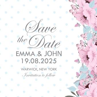 Design de modelo de cartão de convite de casamento botânica