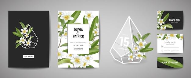 Design de modelo de cartão de convite de casamento botânico, flores tropicais de plumeria e folhas em estilo moderno, coleção de salvar a data, rsvp, saudação em vetor