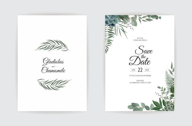 Design de modelo de cartão de convite de casamento botânico.