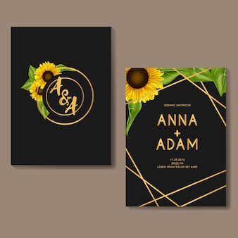 Design de modelo de cartão de convite de casamento de girassol dourado