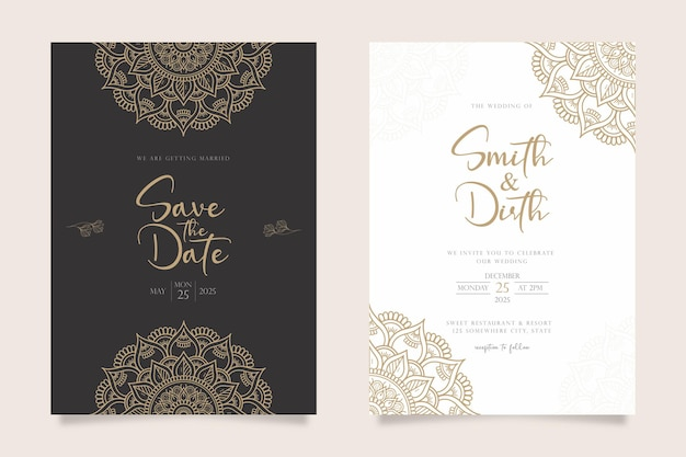 Design de modelo de cartão de convite de casamento de luxo