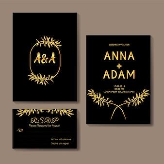 Design de modelo de cartão de convite de casamento de ouro verde-oliva
