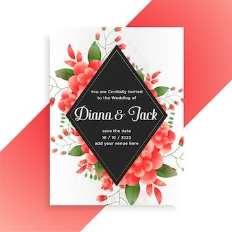 Design de modelo de cartão de convite de casamento decorativo de flores