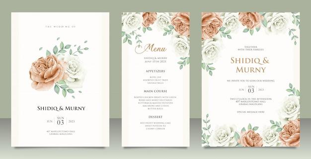 Design de modelo de cartão de convite de casamento elegante com peônias