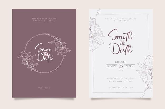 Design de modelo de cartão de convite de casamento em estilo de linha de arte Vetor Premium