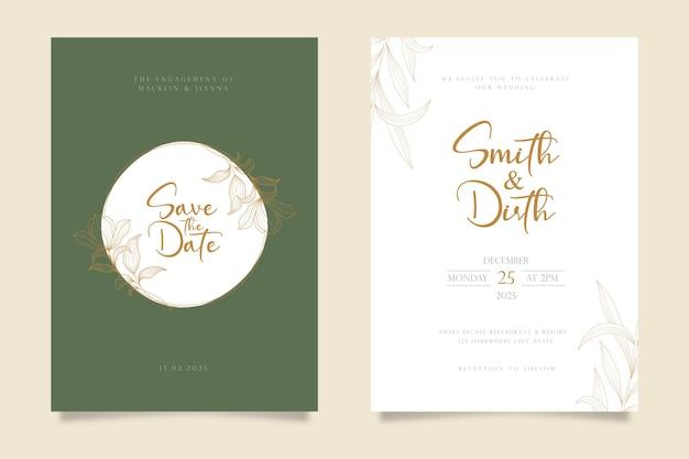 Design de modelo de cartão de convite de casamento em estilo de linha de arte