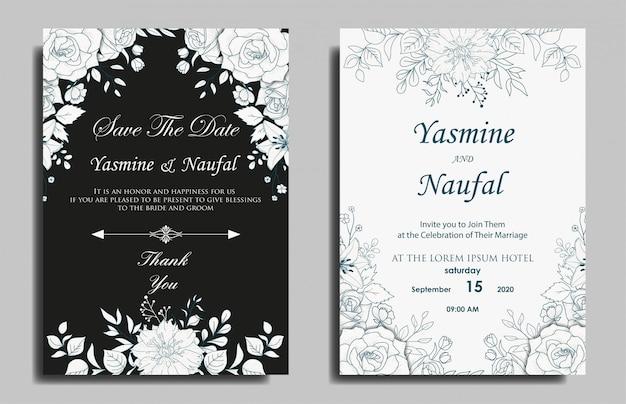 Design de modelo de cartão de convite de casamento floral desenhado à mão