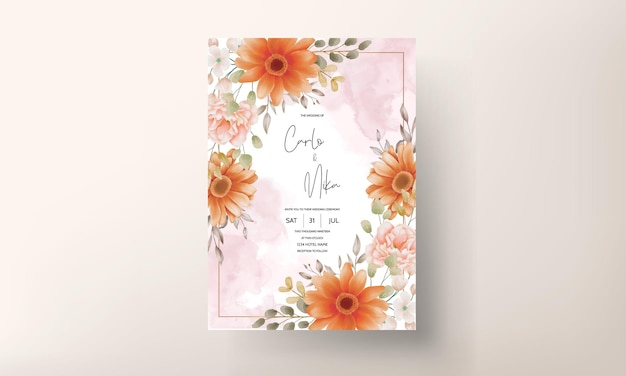 Design de modelo de cartão de convite de casamento floral lindo em aquarela