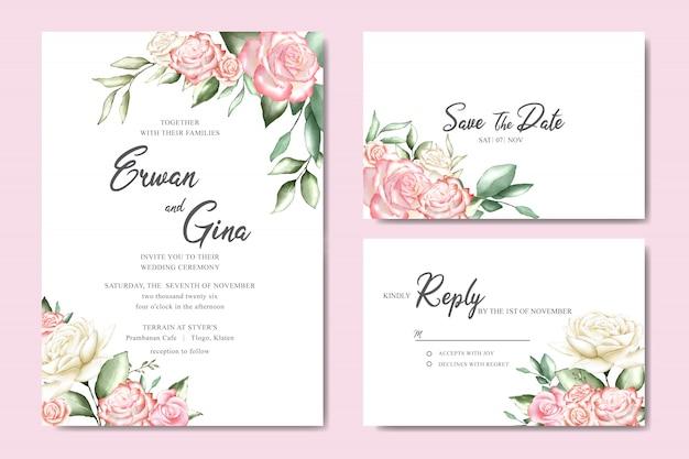 Design de modelo de cartão de convite de casamento romântico