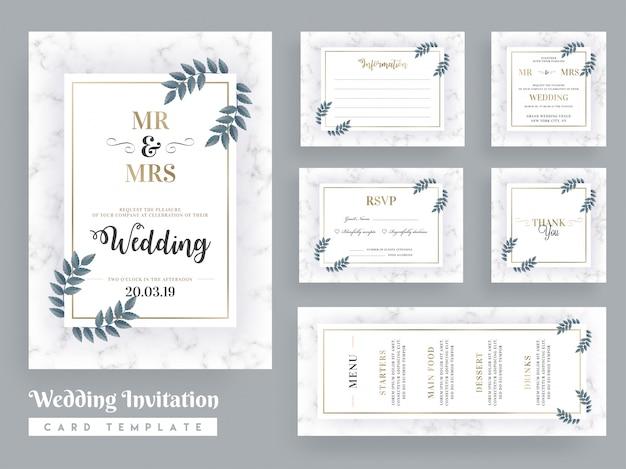 Design de modelo de cartão de convite de casamento