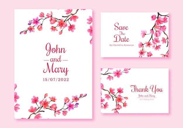 Design de modelo de cartão de flor de cerejeira