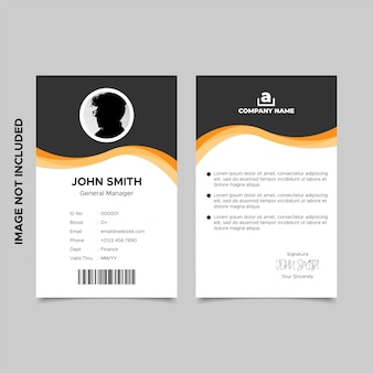 Design de modelo de cartão de identificação ondulado laranja preto empregado