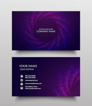 Design de modelo de cartão de negócios moderno, frente e verso com gradiente fluido no fundo roxo