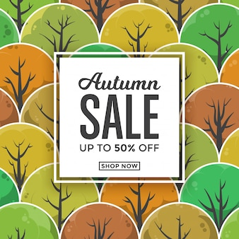 Design de modelo de cartão de venda outono