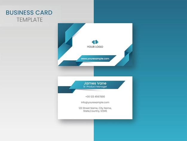 Design de modelo de cartão de visita com dois lados em azul e branco
