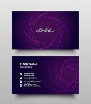 Design de modelo de cartão de visita criativo, frente e verso com gradiente fluido no fundo roxo
