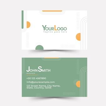 Design de modelo de cartão de visita de cor branca e verde. Vetor Premium