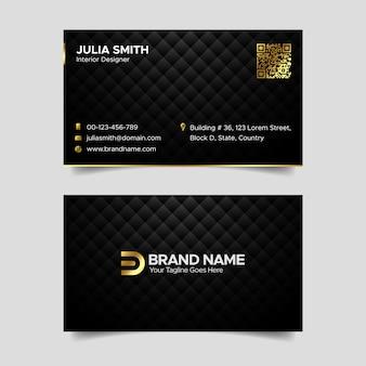 Design de modelo de cartão de visita de luxo elegante abstrato preto e dourado escuro