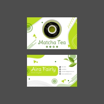 Design de modelo de cartão de visita horizontal frente e verso matcha chá
