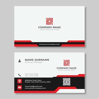 Design de modelo de cartão de visita limpo moderno e simples minimalista com cores pretas e vermelhas.