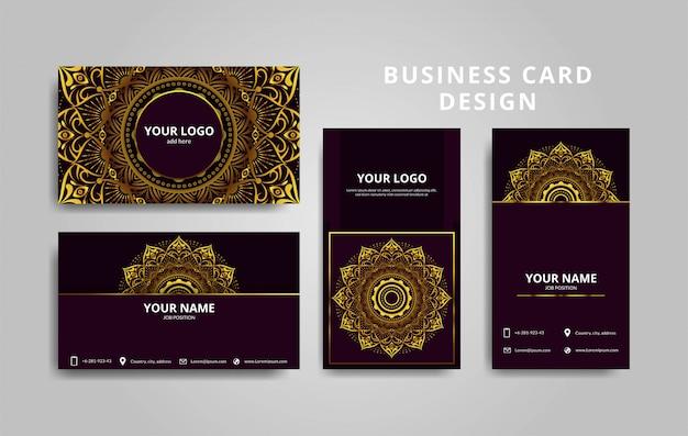 Design de modelo de cartão de visita luxuoso com mandala vermelha e ouro