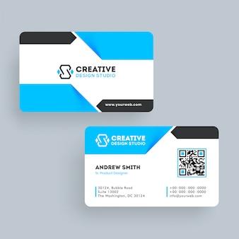 Design de modelo de cartão de visita ou cartão de visita na frente e vista traseira.