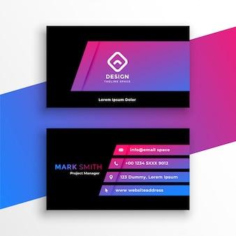 Design de modelo de cartão de visita roxo vibrante elegante