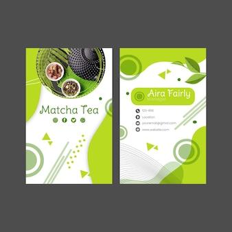 Design de modelo de cartão de visita vertical frente e verso chá matcha