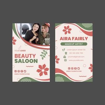 Design de modelo de cartão de visita vertical frente e verso para salão de beleza