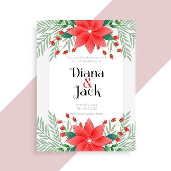 Design de modelo de cartão floral de casamento