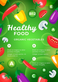Design de modelo de cartaz de comida saudável