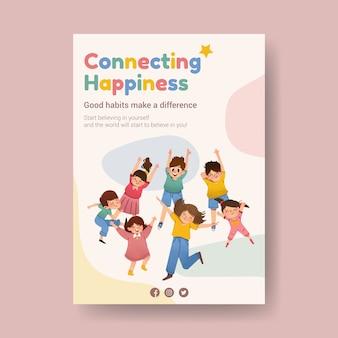 Design de modelo de cartaz de dia da juventude para folheto e anunciar aquarela