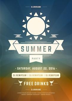 Design de modelo de cartaz de festa de praia de férias de verão ou flyer
