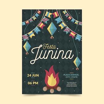 Design de modelo de cartaz de festa junina