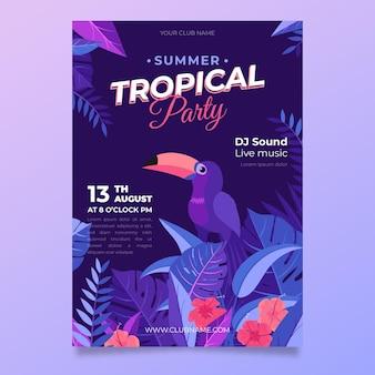 Design de modelo de cartaz de festa tropical