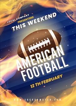 Design de modelo de cartaz de futebol americano