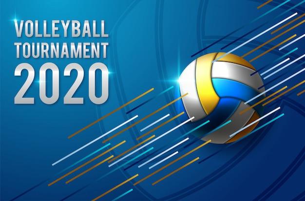 Design de modelo de cartaz de torneio de vôlei
