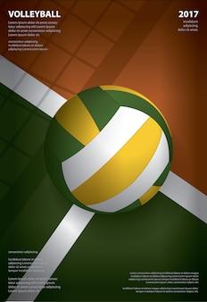 Design de modelo de cartaz de torneio de voleibol