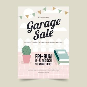 Design de modelo de cartaz de venda de garagem