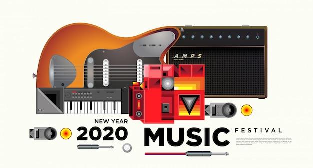 Design de modelo de cartaz horizontal de festival de música