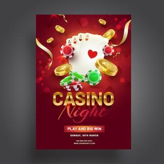Design de modelo de celebração de noite de cassino com elementos de cassino na