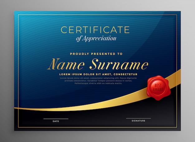 Design de modelo de certificado azul escuro