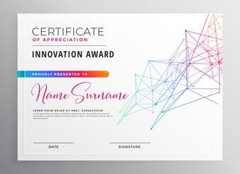 Design de modelo de certificado colorido criativo