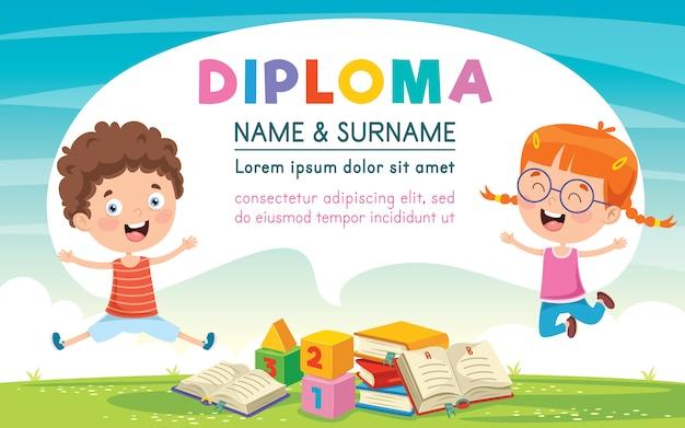 Design de modelo de certificado de diploma para educação infantil