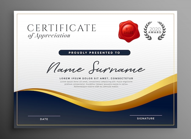 Design de modelo de certificado de diploma profissional