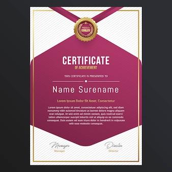 Design de modelo de certificado de luxo