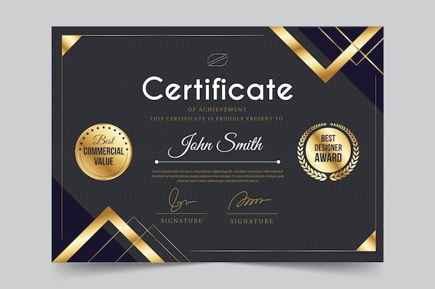 Design de modelo de certificado de realização