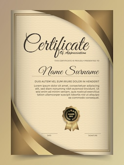 Design de modelo de certificado dourado premium.