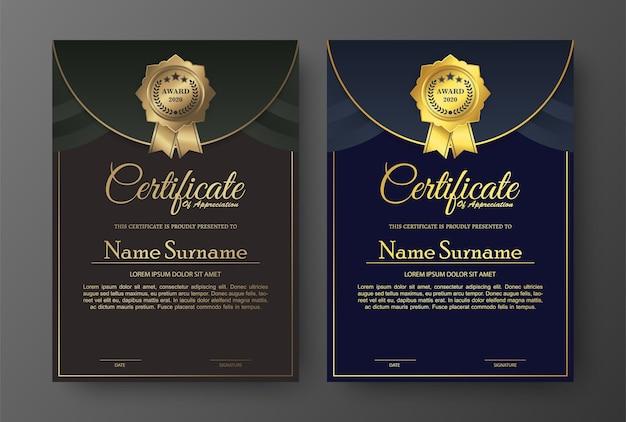 Design de modelo de certificado elegante dourado.