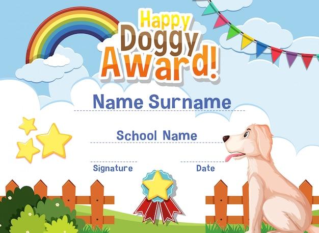 Design de modelo de certificado para feliz prêmio cachorrinho com cachorro fofo no parque
